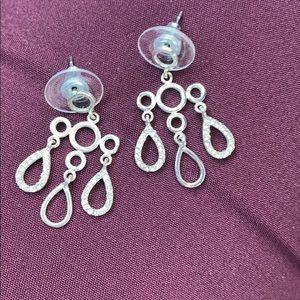 Lovely dangle silver tone sparkle earrings